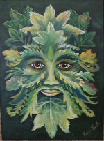 Green Man on Canvas